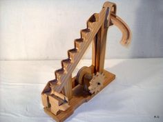 """Ryszard's """"marble machine in pictures Wooden Gear Clock, Wooden Gears, Wood Projects, Woodworking Projects, Marble Toys, Kinetic Toys, Marble Machine, Mechanical Power, Automata"""