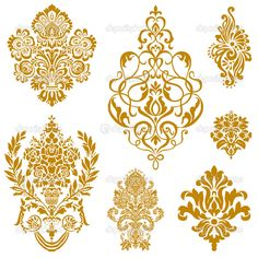 Yükle - Vektör altın damask süsleme seti — Stok İllüstrasyon #4748232