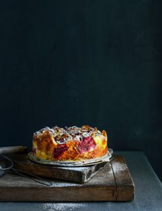 Rhubarb Croissant Bread and Butter Pudding