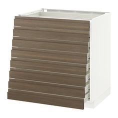 IKEA - METOD / FÖRVARA, Élément bas 8faces/8tiroirs bas, blanc, 80x60 cm, Voxtorp motif noyer, , Le tiroir FÖRVARA peut être tiré jusqu'au 3/4 de sa profondeur totale et offre beaucoup d'espace de rangement.Structure de construction solide - 18 mm d'épaisseur.