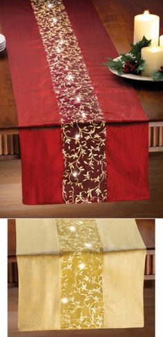 """Lighted Holiday Table Runner Indoor Decoration - Light up your dining table with a festive, holiday hued runner that comes with its own lighting effects. Brilliant LED lights inside center pane req. 3 """"AA"""" batteries (not included)....  #Christmas"""