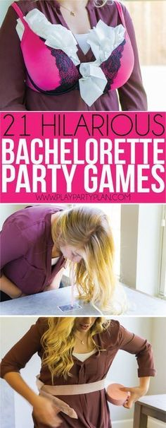 21 hilarious bachelorette party games that are clean, classy, and tasteful (only the names are dirty and raunchy), making them perfect for a girls night at home! No need for any drinking or a trip to the bar, these unique games are free and easy to play, just need a little lingerie! Everything you need to DIY these bachelorette party ideas quickly! #WeddingIdeasSouvenir
