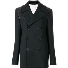 Alexander McQueen double breasted peacoat ($3,175) ❤ liked on Polyvore featuring outerwear, coats, black, long sleeve coat, pea coat, pea jacket, double breasted peacoat and goth coat