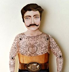 Victorian Tattooed Tough Guy Paper Puppet Doll  Sir by crankbunny, $20.00