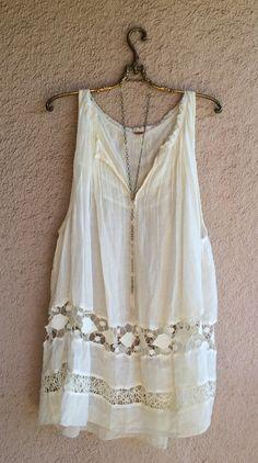 Image of Free People Ivory lace cut work organic cotton gypsy Beach boho  dress