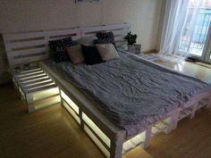 Podświetlane łóżko z palet, LED, palety Szczecin - image 3