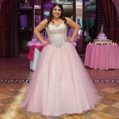 2016 robe quinceanera Floor Length Quinceanera Dresses Pink Cheap Charming Sweetheart Ball Gown Plus Size Robe De Soiree