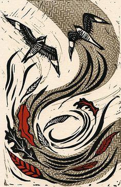 #nightjars #autumn #printmaking #linocut #woods #nature #flying #soaring #leaves #pattern #birds #art #illustration Lino Art, Linoprint, Wood Engraving, Linocut Prints, Art Pictures, Printmaking, Book Art, Illustration Art, Abstract