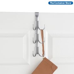 This 6-Hook Rack is ready to hang wherever you need extra storage. Slide it over a closet door to create a convenient vertical organizer for jewelry, belts, caps, jackets and accessories. Use it to prepare the next day's outfit or special ensemble. Contents are always easy to see, grab and go. In a small bathroom, this storage rack can keep things tidy by holding robes and extra towels. Steel construction provides exceptional strength; foam padding protects doors. Entryway Organization, Small Space Organization, Extra Storage, Storage Rack, Reach In Closet, Hook Rack, Kid Closet, Container Store, Door Wall