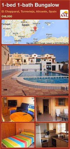 Bungalow for Sale in El Chapparal, Torrevieja, Alicante, Spain with 1 bedroom, 1 bathroom - A Spanish Life Valencia, Portugal, Torrevieja, Bungalows For Sale, Alicante Spain, Spanish, To Go, Mansions, Bathroom