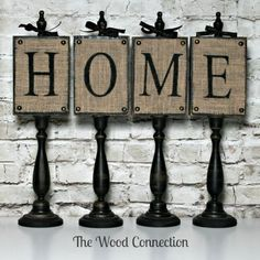 To Make for my mantel - Wooden candle sticks painted black. use a small piece of square wood. Burlap attached to the square and stencil either BISTRO or EAT. Place on top of cabinets in kitchen. Burlap Projects, Burlap Crafts, Craft Projects, Craft Ideas, Wooden Crafts, Wooden Diy, Country Crafts, Home Crafts, Diy And Crafts