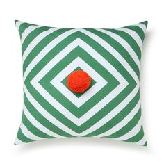 fun store with big pillows  ARRO Home: Cotton Velvet Cushion With Pom Pom