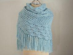 Crochet Triangular Shawl in Baby Blue by Namaoy on Etsy, $58.00