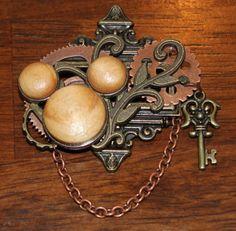 Steampunk Mickey ears brooch/pin