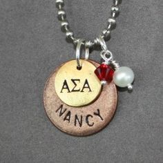 Alpha Sigma Alpha - Pearl Ruby Sister gift Love this... I need a Greek alphabet stamp set!