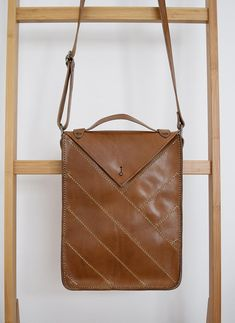 Brown Leather Messenger Style Bag