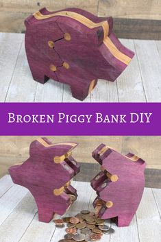 A new wooden piggy bank project with a twist. No -- a crack. Learn how to make this fun weekend proj Wood Projects That Sell, Woodworking Projects That Sell, Cool Diy Projects, Woodworking Ideas, Woodworking Workbench, Custom Woodworking, Art And Craft, Diy And Crafts, Wood Projects