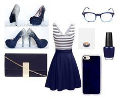 """Navy blue"" by kaylajohnson969 on Polyvore featuring Dorothy Perkins, OPI, Corinne McCormack and Casetify"