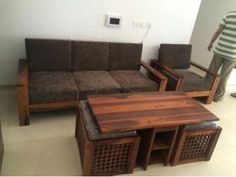 Buy Winster L-Shaped Wooden Sofa (Warm Grey, Walnut Finish) Online in India - Wooden Street Corner Sofa Wooden, Wooden Sofa Designs, Sofa Bed Design, Wooden Street, L Shaped Sofa, My Furniture, Warm Grey, Walnut Finish, Sofa Set