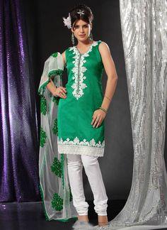 Resham Art Green And White Churidar Suit