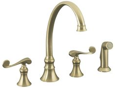 Kohler K-16109-4 Double Handle Kitchen Faucet with Metal Scroll Handles and Sidespray from the Revival Series