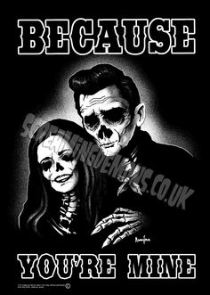 Johnny and June Zombie Art Print by Marcus Jones. Johnny Cash, Johnny E June, Zombie Kunst, Zombie Art, Rockabilly Art, Demon Art, Gothabilly, Chicano Art, Psychobilly