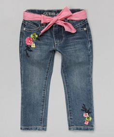 Another great find on #zulily! Indigo Embroidered Jeggings - Infant by GUESS #zulilyfinds