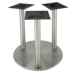 The table base features: -Three, steel mounting plates thick) spread at the floor -Compatibility with tops up to -Works with our optional glass top adapters Stainless Steel Table, Brushed Stainless Steel, Granite Table Top, Granite Tops, Build A Table, Steel Columns, Round Table Top, Cafe Tables, Under The Table