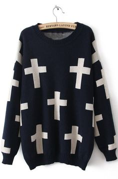 To find out about the Navy Long Sleeve Cross Print Pullovers Sweater at SHEIN, part of our latest Sweaters ready to shop online today! Loose Sweater, Sweater Shirt, Long Sleeve Sweater, Pullover Sweaters, Long Sleeve Tops, Long Sleeve Shirts, Women's Sweaters, Cardigans, Baby Blue Dresses