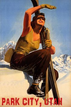 Winter Sport Sun Park City Utah Ski Mountains Woman Skiing Travel Tourism Vintage Poster Repro FREE The Effective Pictures We … Wallpaper Cross, Sports Day Poster, Ski Europe, Colorado Resorts, Vail Colorado, Ski Resorts, Colorado Snowboarding, Vintage Ski Posters, Ski Mountain