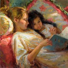 Reading together.  I don't know the artist but love the painting.