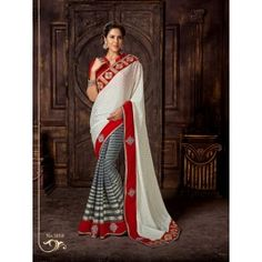Online shopping for desinger off white and grey colour foil sequence saree By Being Fashion