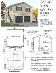 Apartment Plans 2 car garage with apartment plan 864-1rapt 36 x 24'behm design