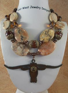 Cowgirl Necklace Set - Chunky Brown Turquoise and Jasper with a Texas Longhorn Pendant - pinned by pin4etsy.com