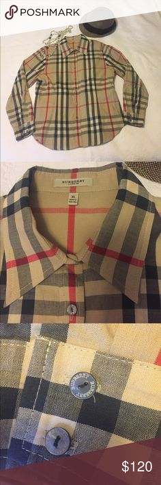 Burberry long sleeve shirt Please look all measurements. This is a fitted shirt. My ex husband bought it for me in 2002. I wear maybe twice. burberry Shirts & Tops Button Down Shirts