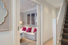 Interior Design Inspiration – Our portfolio showcases how we converted a Victorian terraced house into a spacious and luxurious family home. West London, Interior Design Inspiration, Terrace, Home And Family, Entryway, Mirror, Luxury, House, Furniture