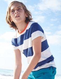 Stripy Slub T-shirt 21789 Essentials at Boden