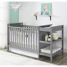 Grey Crib Changing Table Combo Baby Convertible Toddler Bed Adjustable Gray Wood