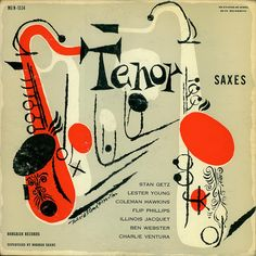 David Stone Martin, artwork for Alto Sax and Tenor Saxes, Charlie Parker, Stan Getz Norgran Records Lp Cover, Vinyl Cover, Cover Art, Old Posters, David Stone, Jazz Poster, Vintage Illustration Art, Tenor Sax, Pochette Album