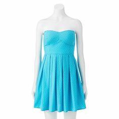 Derek Heart Smocked Strapless Dress - Juniors