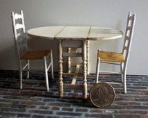 Shabby Drop Leaf Table and Chairs 1:12