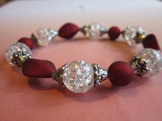 White Resin/Red Bead Bracelet by BeadazzlingButterfly on Etsy, $15.00