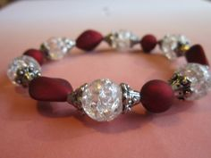 White and Red Glass Bead Bracelet by BeadazzlingButterfly on Etsy, $15.00