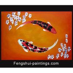 Japanese Koi Fish Art | Abstract Art Feng Shui Painting Koi Fish Painting Japanese Koi ...