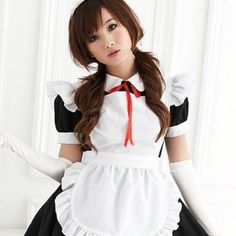 Mordor Sexy Lolita Maid Cosplay Costume Black Dress and White Apron + Gloves MH
