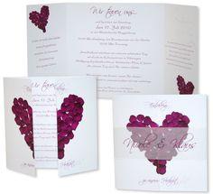 Altarfalz Hochzeitseinladung - Rosenblätter - Violett