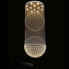 LED Pendant Light Modern Crystal Chandelier 12 Lights Silver Canpoy Clear Crystal Globe Ceiling Lamps Fixtures H210CM 2016 – $852.29