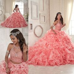 b4749b2795d8 Coral Lace Organza Two Pieces Quinceanera Dresses 2018 Modest Ruffles Sweet  16 Ball Gown Plus Size