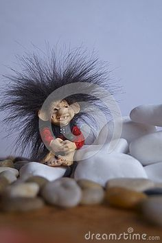 Beautiful background with a cute troll and stones Troll, Stones, Christmas Ornaments, Holiday Decor, Cute, Beautiful, Home Decor, Rocks, Decoration Home