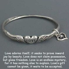 "Amazon.com: Womens Silver Bracelet, Love Poem (Message), Hearts with Angel Wings, Heart Charm, 3/8"" High / 2 5/8"" Diameter: Jewelry"